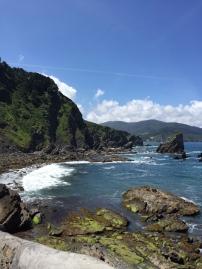Waves crashing into the rocks