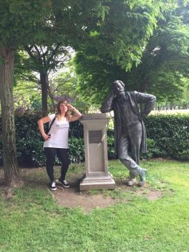My friend Dakota, posing with a statue